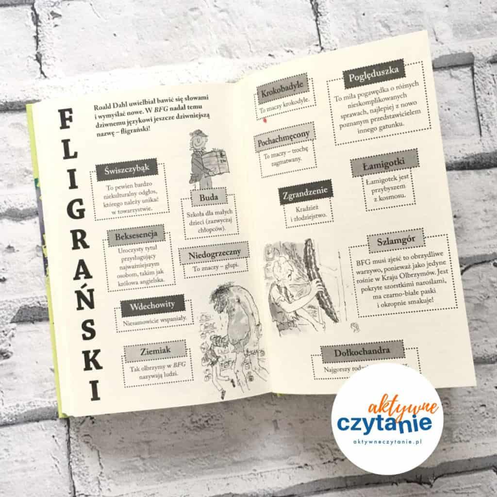 Państwo Burakowie Roald Dahl słownik fligrański