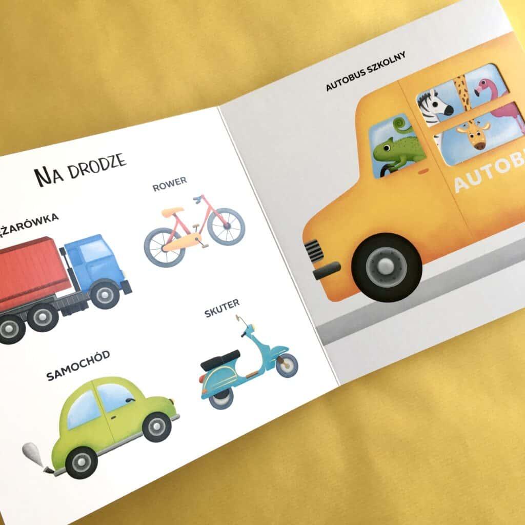 kartonowe ksiazki dla dzieci jupi jo pojazdy