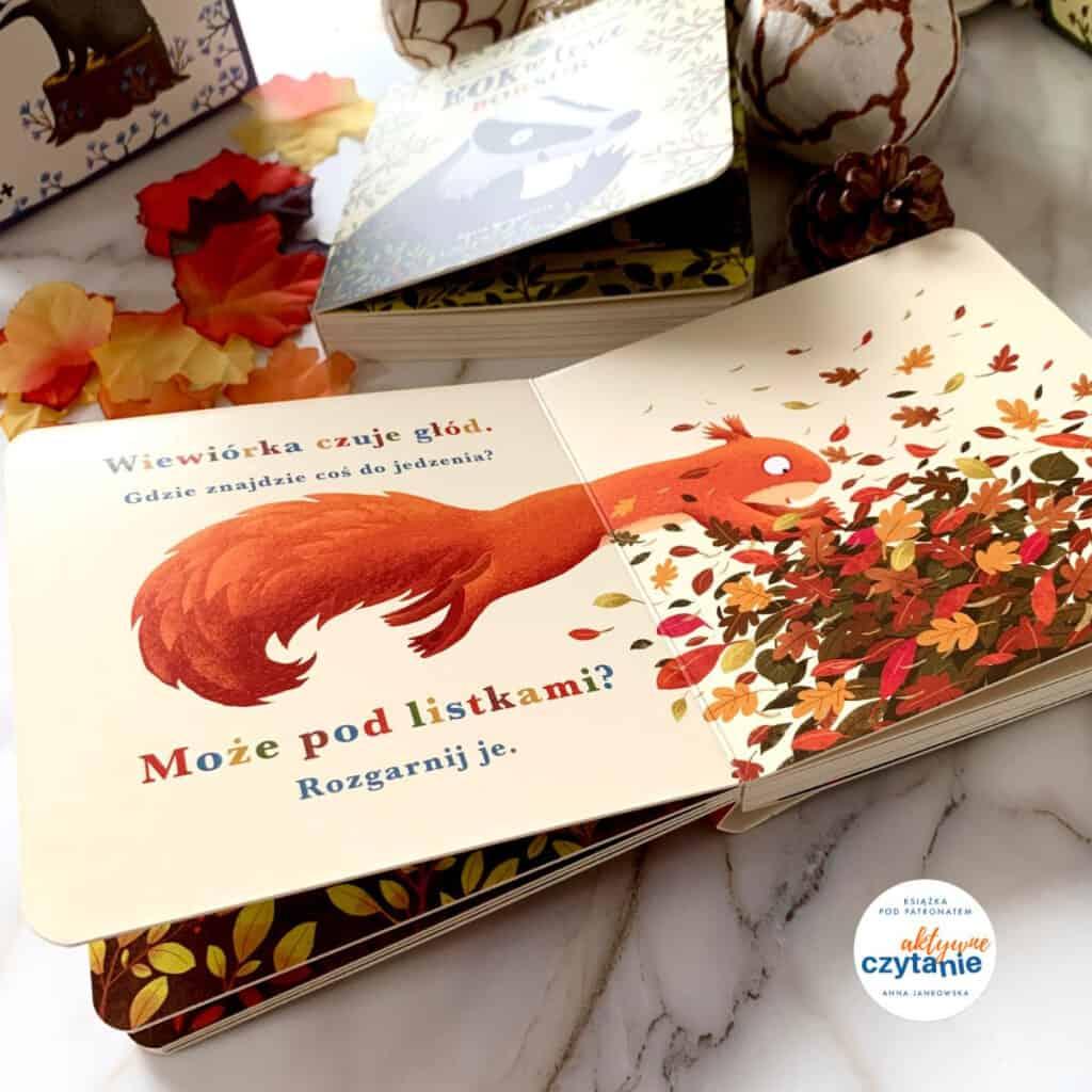 kartonowe ksiazeczki dla dzieci rok wlesie wiewiorka borsuk recenzja ksiazki